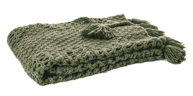 Knit Olive Throw Blanket