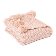PomPom Knit Throw Blanket