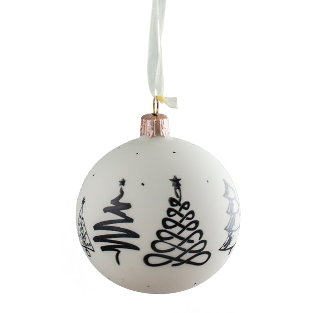 Black and White Glass Tree Print Ornament
