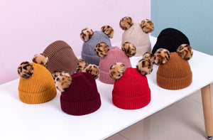 KIDS CUSTOM POM POM BEANIE- RUST