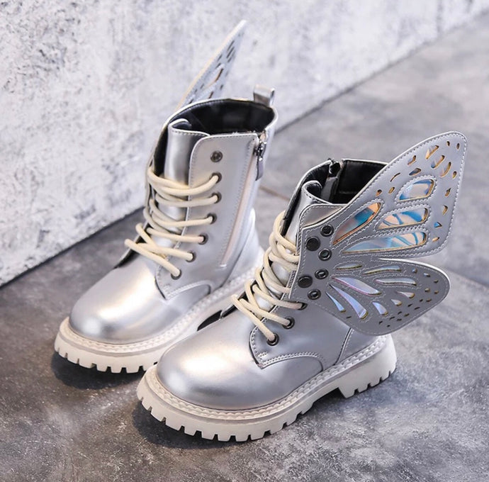 KIDS BUTTERFLY BOOTS - SILVER
