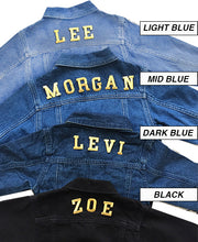 Load image into Gallery viewer, ADULT CUSTOM DENIM JACKET- Basic Gold Letters