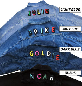 ADULT CUSTOM DENIM JACKET- Basic Rainbow Alphabet