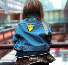 Load image into Gallery viewer, KIDS CUSTOM DENIM JACKET- Classic Leopard