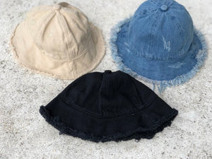 KIDS CUSTOM SUN HAT- BLACK CANVAS