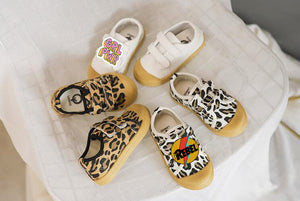 KIDS CUSTOM PATCH SHOES- WHITE LEOPARD CANVAS