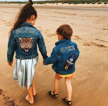 Load image into Gallery viewer, KIDS CUSTOM DENIM JACKET- Special Edition lucky roar