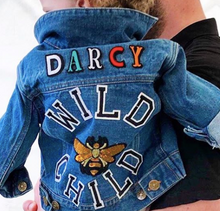 Load image into Gallery viewer, KIDS CUSTOM DENIM JACKET- Statement Trouble Maker