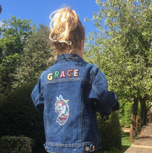 Load image into Gallery viewer, KIDS CUSTOM SHEARLING DENIM JACKET- Special Edition Sparkly unicorn