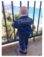 Load image into Gallery viewer, KIDS CUSTOM DENIM JACKET- Basic Black White Alphabet