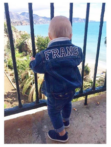 KIDS CUSTOM DENIM JACKET- Basic Black White Alphabet