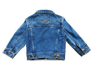 ADULT CUSTOM DENIM JACKET- Basic Black White Alphabet