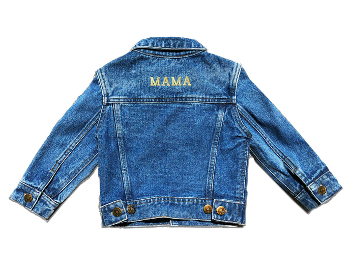 ADULT CUSTOM DENIM JACKET- Basic Gold Letters