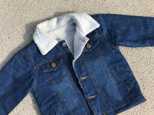 Load image into Gallery viewer, KIDS CUSTOM SHEARLING DENIM JACKET- Basic gold