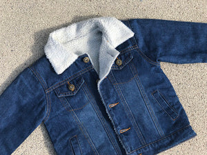 KIDS CUSTOM SHEARLING DENIM JACKET- Basic gold