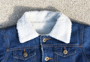 KIDS CUSTOM SHEARLING DENIM JACKET