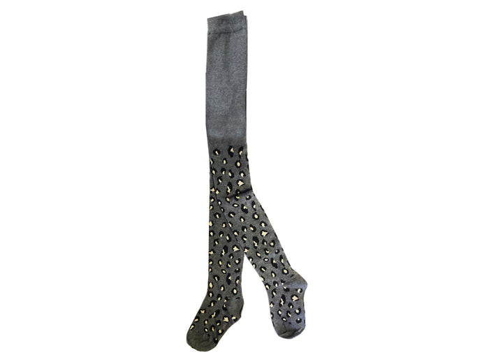 KIDS LEOPARD TIGHTS- Grey