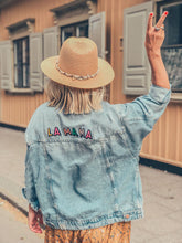 Load image into Gallery viewer, ADULT CUSTOM DENIM JACKET- Basic Rainbow Alphabet