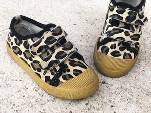 KIDS CUSTOM TEXT SHOES- BROWN LEOPARD CANVAS