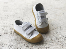 Load image into Gallery viewer, KIDS CUSTOM PATCH SHOES- WHITE CANVAS