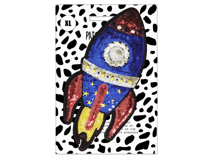PATCH MASCOT ADD ONS- Sequin Space Rocket (XL)