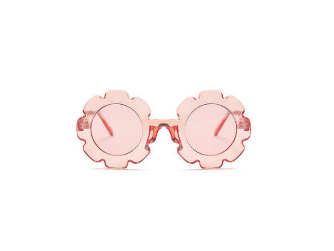 Kids flower sunglasses- transparent pink