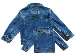 TWINNING CUSTOM DENIM JACKETS- Basic Black White Alphabet