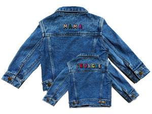 TWINNING CUSTOM DENIM JACKETS- Basic Rainbow Letters
