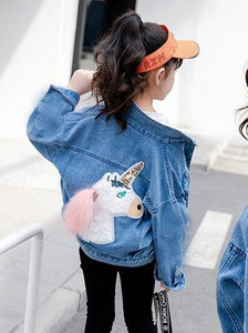 KIDS CUSTOM DENIM JACKET- Special Edition Fluffy Unicorn