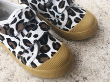 Load image into Gallery viewer, KIDS CUSTOM PATCH SHOES- WHITE LEOPARD CANVAS