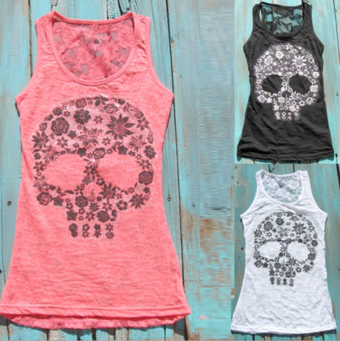 Skull Lace Back Tank Top