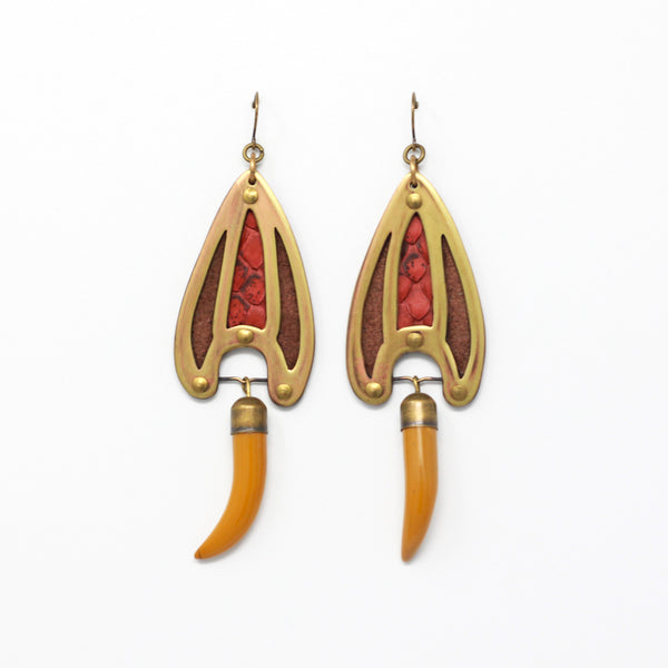 BRAVA EARRINGS in brown/mustard