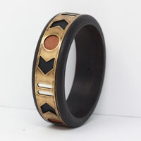 WOOD AND BRASS CUFF in tawny
