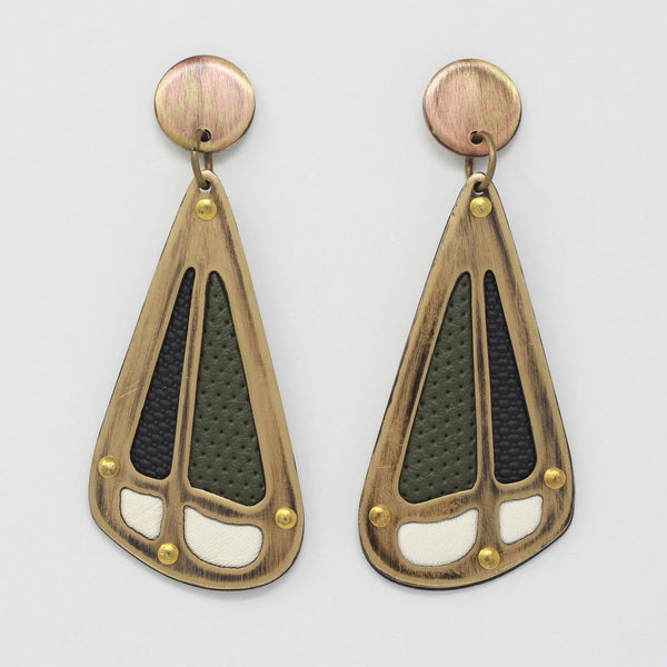 PIECE EARRINGS in midnight green