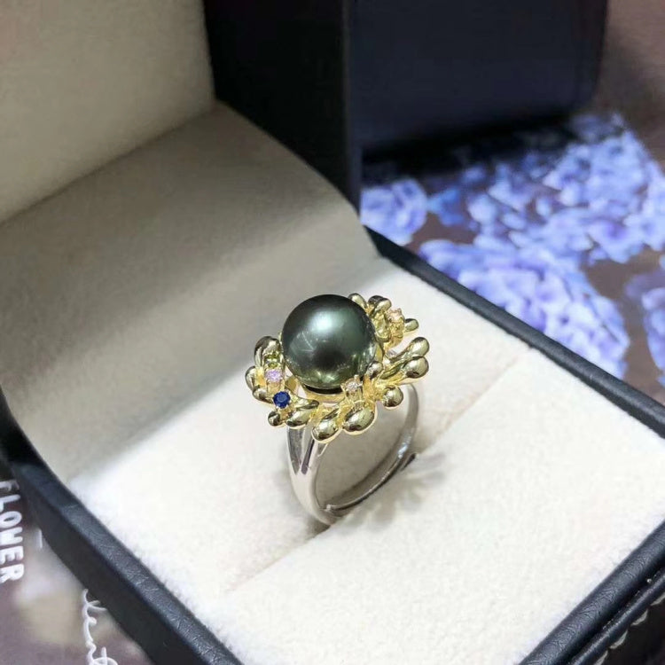 Shining 12mm Freshwater Pearl Sterling Silver Ring