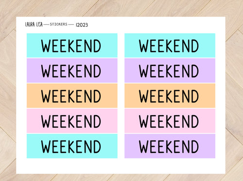 Stickervel weekendbanner neon 12023