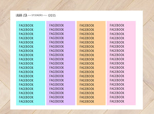 Sticker sheet facebook neon 12035