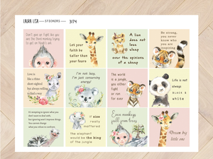 of Sticker sheet Quotes with animals 2 3174