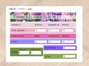 Sticker sheets combi financial overview May 8066 to 8069