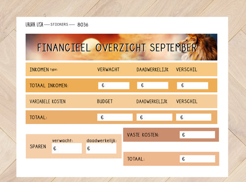Sticker sheet financial overview September 8036