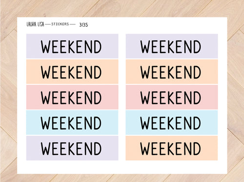 Stickervel weekendbanner pastel  3135