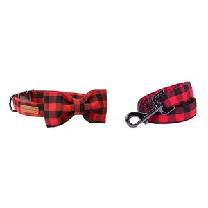 Buffalo Plaid Collar, Bowtie, + Leash