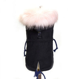 Jacket w/ Faux Fur Trim and Fleece Lined - Black
