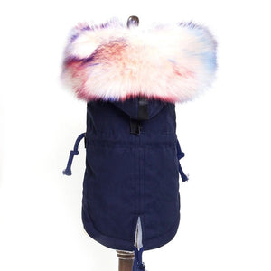 Jacket w/ Faux Fur Trim and Fleece Lined - Navy