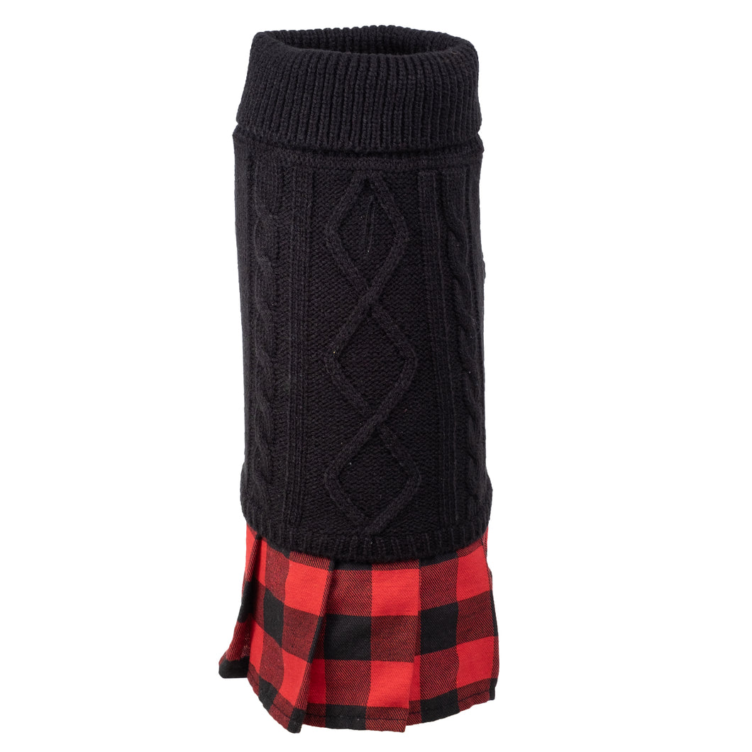 Turtleneck Dress with Buffalo Plaid Pleats