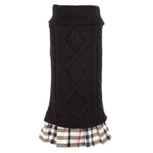 Load image into Gallery viewer, Turtleneck Dress with Tan Plaid Pleats