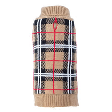 Load image into Gallery viewer, Tan Plaid Knit Turtleneck Sweater