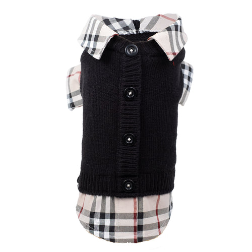 Cardigan with Tan Plaid Shirttail and Collar