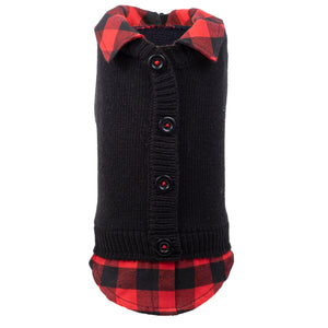 Cardigan with Buffalo Plaid Shirttail and Collar