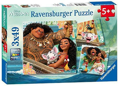 Ravensburger Disney Moana Born To Voyage 3x49 Piece Jigsaw Puzzle